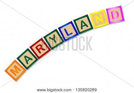 A collection of wooden block letters spelling Maryland over a white background
