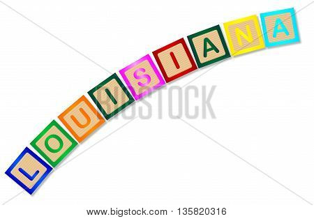 A collection of wooden block letters spelling Louisiana over a white background