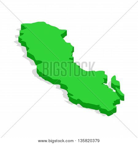 Green map of Sweden icon in isometric 3d style on a white background