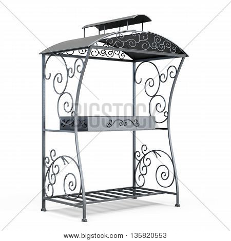 Grill BBQ under the roof isolated on white background. Forged elements, ornament. 3d rendering