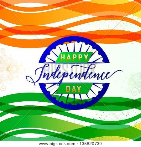 Vector illustration of India Independence Day 15th August. Creative style felicitation card for indian people with ribbon, sign, light and grunge effect, wheel. Print, web application. Typography greeting, invitation poster