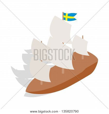 Ship with Swedish flag icon in isometric 3d style on a white background