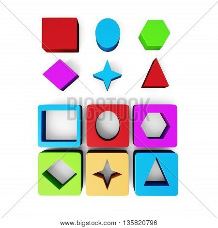 Set of cubes and geometric shapes isolated on white background. Educational blocks. Children's educational toys. 3d rendering