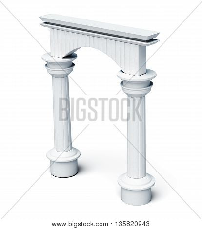 Columns and arch isolated on white background. 3d rendering.