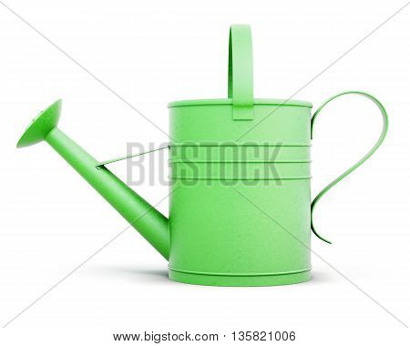 Green metal watering can isolated on white background. Front view. 3d rendering.