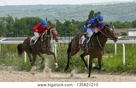 PYATIGORSK, RUSSIA - JUNE 19:Race for the prize of the Day health worker,Russia's largest hippodrome in Pyatigorsk,Caucasus,Russia on June 19,2016.