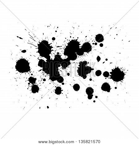Abstract painted ink and watercolorcolor splatter for use in brushes or background for abstract creative work in many kind of pattern isolated on white background