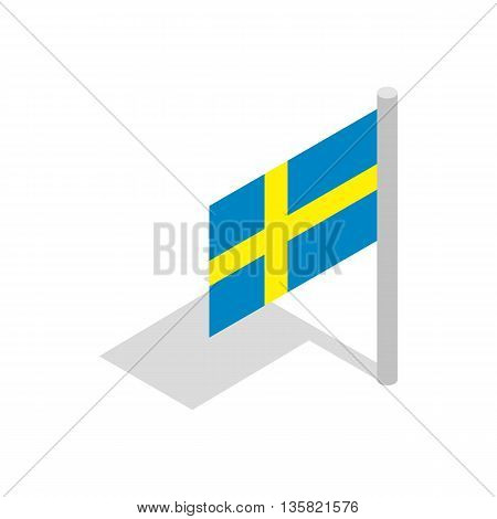 Flag of Sweden icon in isometric 3d style on a white background