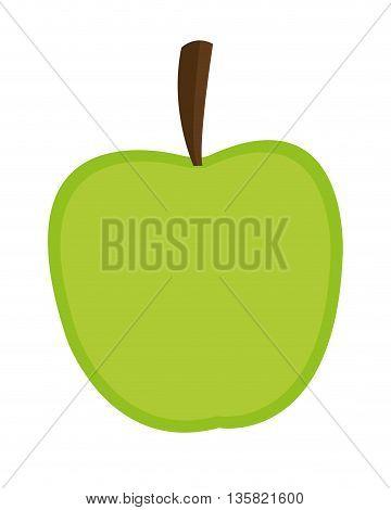 simple flat design of green whole apple vector illustration
