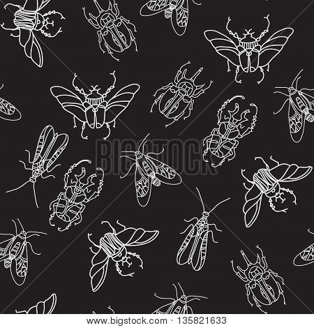 colored beetles vector pattern on black background