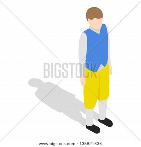 Man wearing in traditional swedish national costume icon in isometric 3d style on a white background