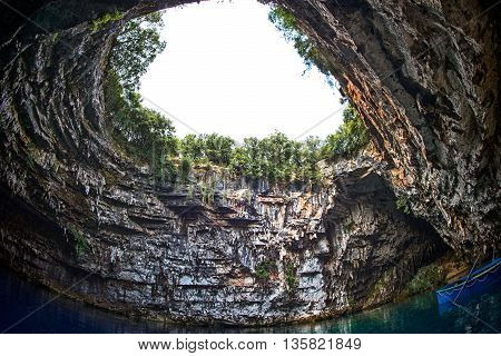 Famous Melissani Lake On Kefalonia Island In Greece