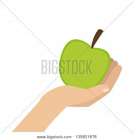 simple flat design of hand holding green whole apple vector illustration