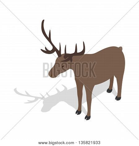 Deer icon in isometric 3d style on a white background