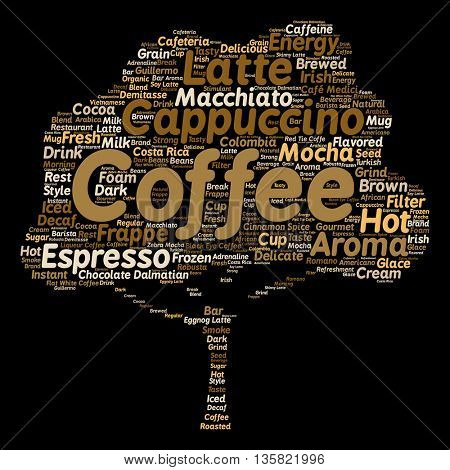 Concept conceptual creative hot coffee, cappuccino or espresso abstract tree word cloud isolated on background