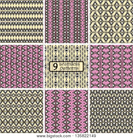 Set of 9 seamless patterns with ethnic motifs. Graphic tribal prints with triangular elements. Abstract geometric ornaments in yellow, pink, black, white colors. Vector illustration for fashion design