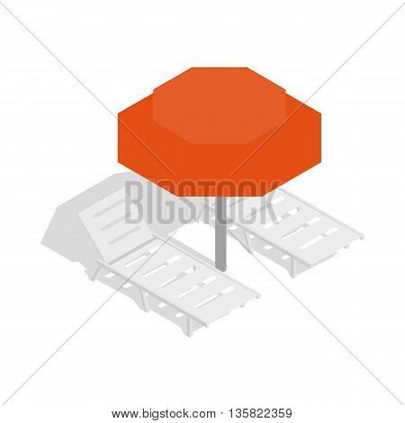 Beach umbrella and two beach chairs icon in isometric 3d style on a white background