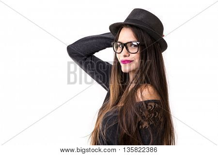 Beautiful latina brunette hipster girl on white background