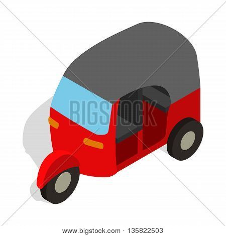 Red tuk tuk icon in isometric 3d style on a white background