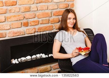 Attractive Woman Eating Breakfast.