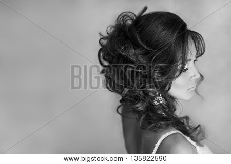 Portrait Of Beautiful Bride With Perfect Makeup And Hairstyle. Black And White