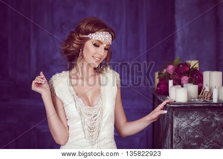 Studio Portrait Of Cheerful Bride With Perfect Hairstyle And Makeup.