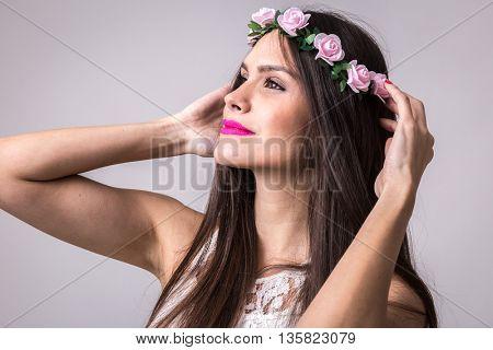 Pretty woman wearing white dress