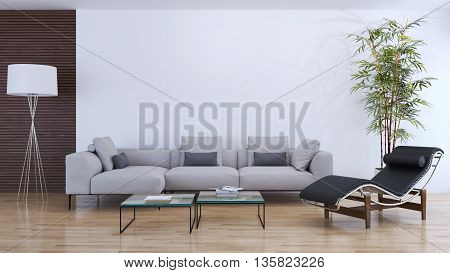 living room parquet sofa table armchair 3d render