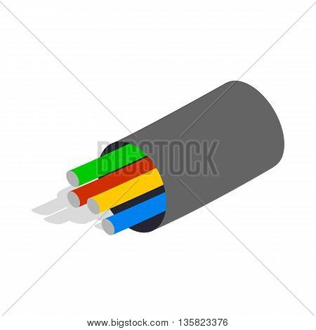 Electric cabel icon in isometric 3d style on a white background