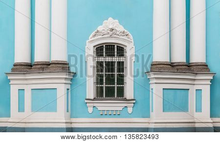 Window and columns on facade of of St. Nicholas Naval Cathedral front view St. Petersburg Russia