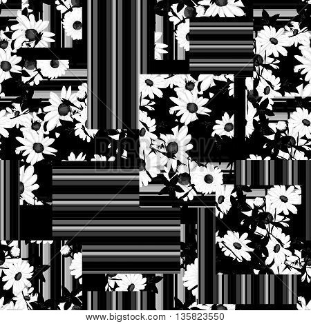 Black and white Flower sketch bouquet hand drawing seamless pattern