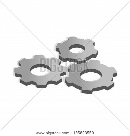 Gears icon in isometric 3d style on a white background
