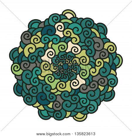Hand drawn colorful curl Mandala isolated on white background. Ethnic decorative element. Vector illustration.