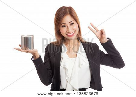 Asian Business Woman Show Victory Sign With Coin Bank