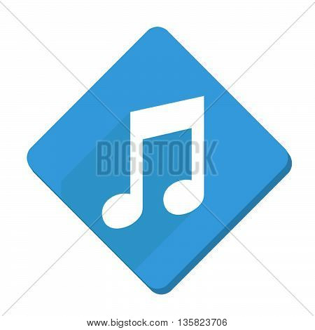 This is musical note squared icon with blue and white color.
