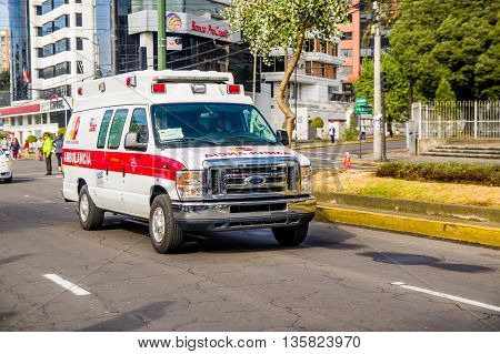 QUITO, ECUADOR - JULY 7, 2015: Ambulance always near for every event in the city, Pope Francisco arriving.