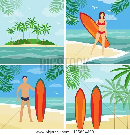 Summer vacation on the coast, surfing, (vector illustration)