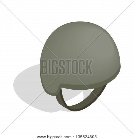 Military helmet icon in isometric 3d style on a white background