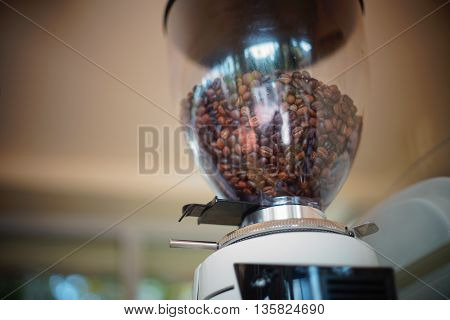 coffee bean in coffee grinder ,tools of coffee