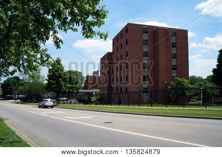 JOLIET, ILLINOIS / UNITED STATES - JUNE 3, 2015: The John O. Holmes Complex provides housing for senior citizens and disabled persons in Joliet.