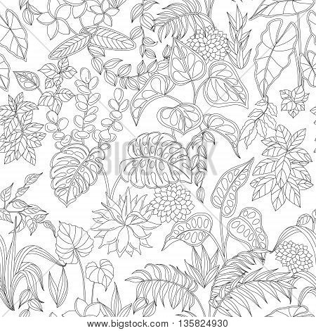 Pattern with contoured tropic plants on white background. Monochrome seamless texture with leaves and flowers.