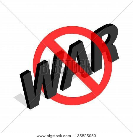 No war sign icon in isometric 3d style on a white background