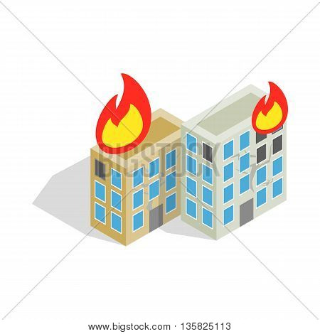 Multistory houses burn, modern war icon in isometric 3d style on a white background