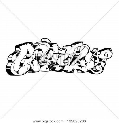 Street art of graffiti. Urban contemporary culture. Abstract color creative drawing. Word gust- Black and white contour