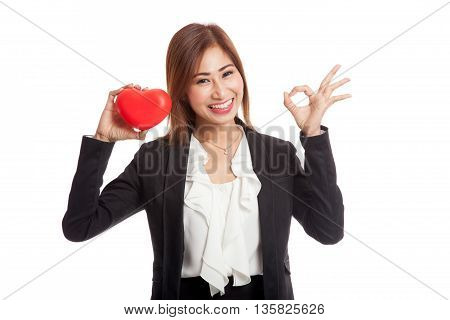 Asian Business Woman Show Ok With Red Heart