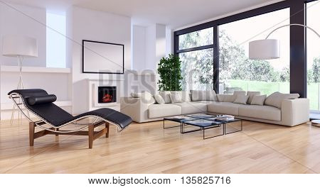 Living room 3d rendering sofa parquet windows