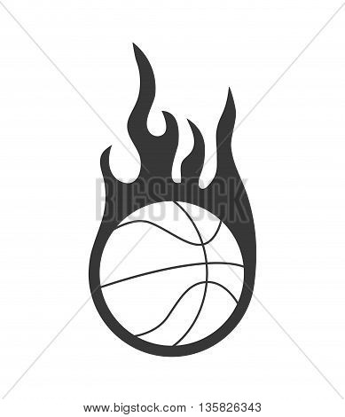 Basketball concept represented by ball and flame icon. isolated and flat illustration