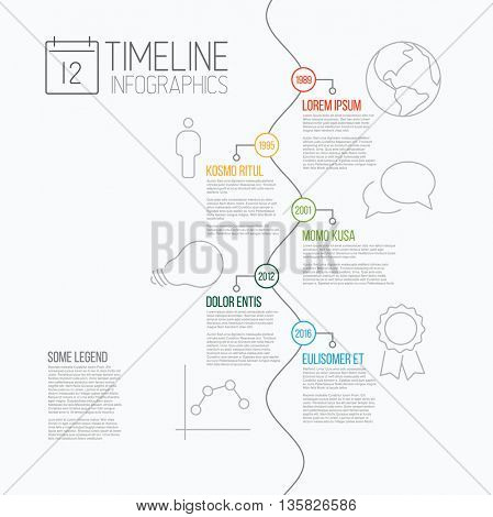 Vector Infographic timeline report template with the biggest milestones, icons, years and descriptions - all events are on serpentine line
