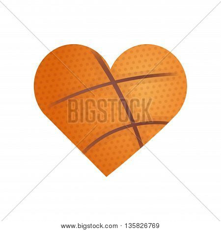 Basketball concept represented by ball in form of heart shape icon. isolated and flat illustration
