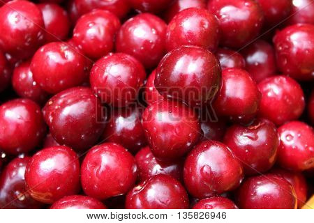Background of the big red cherry berries